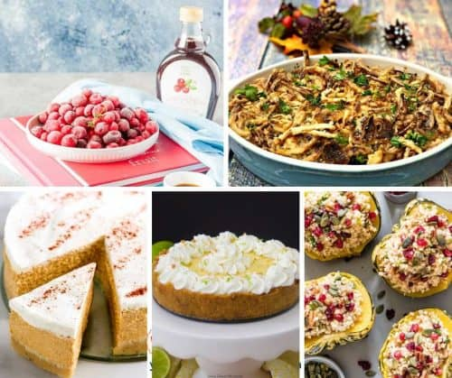 collage of best instant pot recipes includes green bean casserole, key lime cheesecake, stuffed squash, pumpkin cheesecake and sugared cranberries