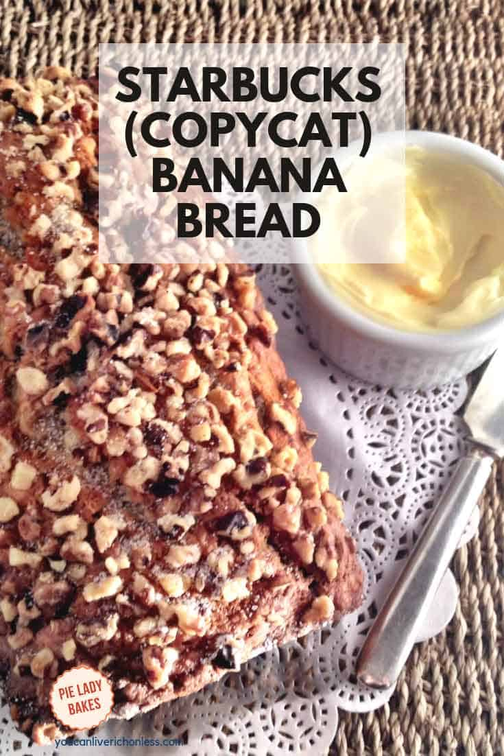 Starbucks Banana Bread (copycat) recipe is a sweet and crunchy loaf, that is super moist and tastes best slightly warmed and slathered with butter!  Bake a double batch so that you can have some at home and take a loaf as a gift to your best friend.  She or he will love you forever!  #starbucks #bananabread #homemadefoodgifts