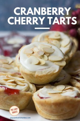 Pinterest Image of cranberry tart on white plate showing cranberry cherry filling