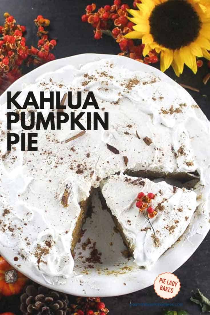 This Kahlua Pumpkin Pie is full of surprises like all that delicious whipped cream topping! And underneath? While a scrumptious spice cookie crust. We used gingersnaps! And of course you know there is a shot or two or kahlua in this scrumptious pie, that is so easy to make. #kahlua #pumpkinpie #holidaydesserts #thanksgiving #whippedcream