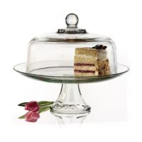 Anchor Hocking Presence Cake Plate w/Dome, 2 Piece Stand