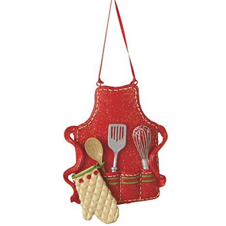 Cute Christmas Holiday Pastry Chef Bakers Apron Ornament , Red