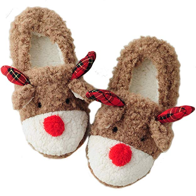 Women's Christmas Rudolph Reindeer Bedroom Slippers