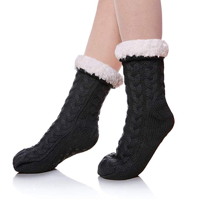 Women's Winter Super Soft Warm Cozy Fuzzy Fleece-lined Christmas Gift With Grippers Slipper Socks