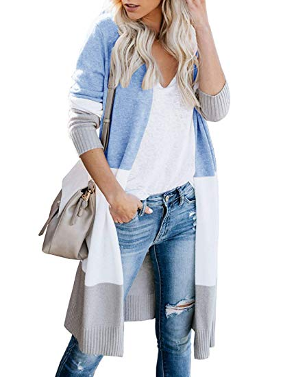 Boho Open Front Cardigan Long Sleeve Loose Knit Lightweight Sweaters