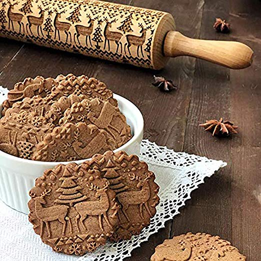Christmas Wooden Rolling Pins Christmas Symbols for Baking Embossed Cookies