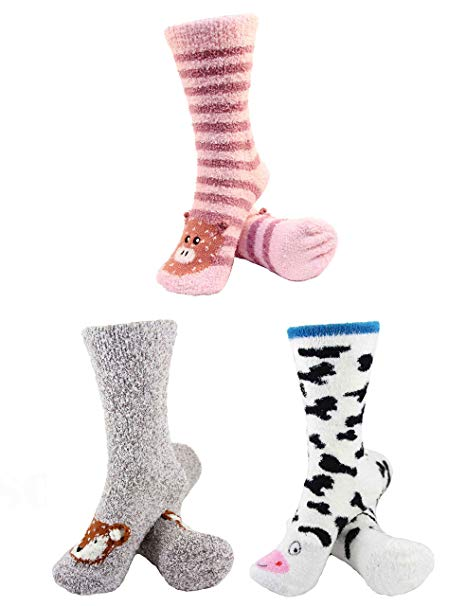 Super Soft Warm Cute Animal Face Socks, Value Pack