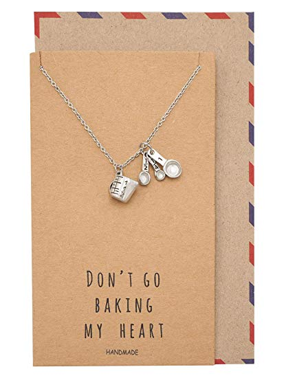 Quan Jewelry Gifts for Her Measuring Cup and Spoons Necklace, Funny Quotes on Greeting Card