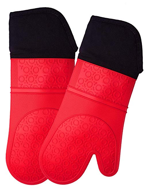 Extra Long Professional Silicone Oven Mitt - 1 Pair - Oven Mitts with Quilted Liner - Red