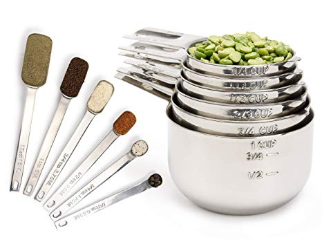 Simply Gourmet Measuring Cups and Measuring Spoons Set Stainless Steel Measuring Cups and Spoons Set of 12.