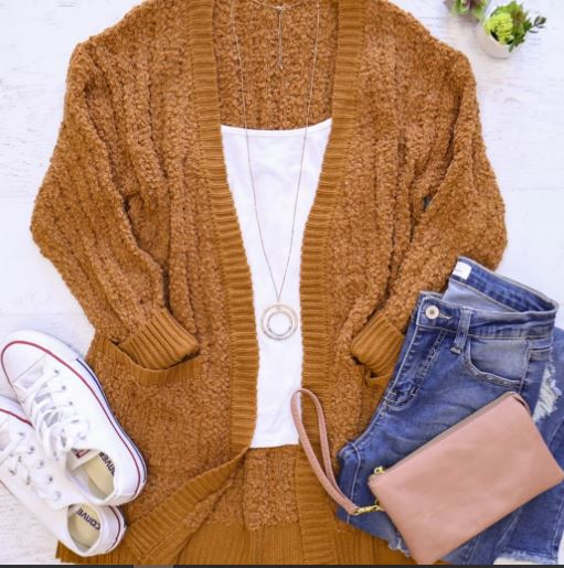 Ribbed Popcorn Pocket Cardigan