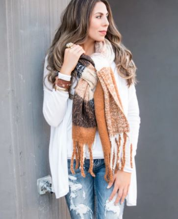 Wool Blend Tassel Wrap and Scarf