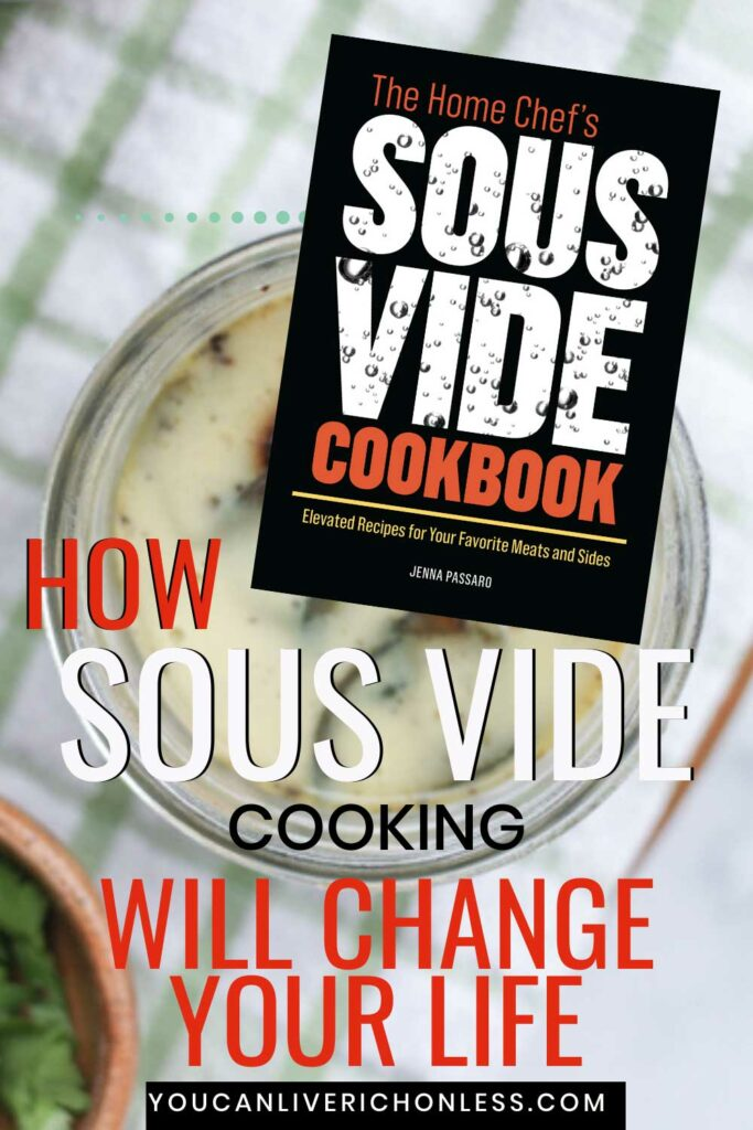 background image of cooked egg bites text reads How Sous Vide Cooking Will Change Your Life and cookbook cover