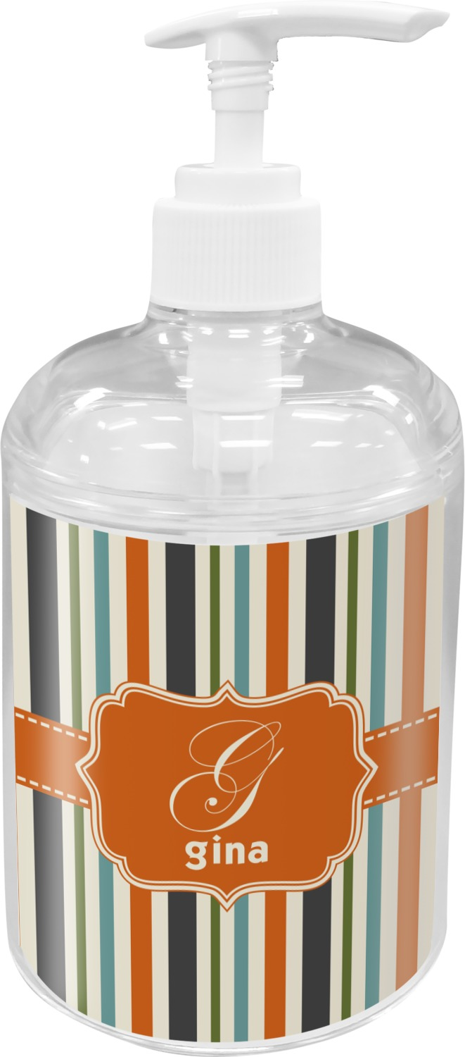 Blue Bathroom Accessories Orange Blue Swirls Stripes Soap Lotion Dispenser Personalized