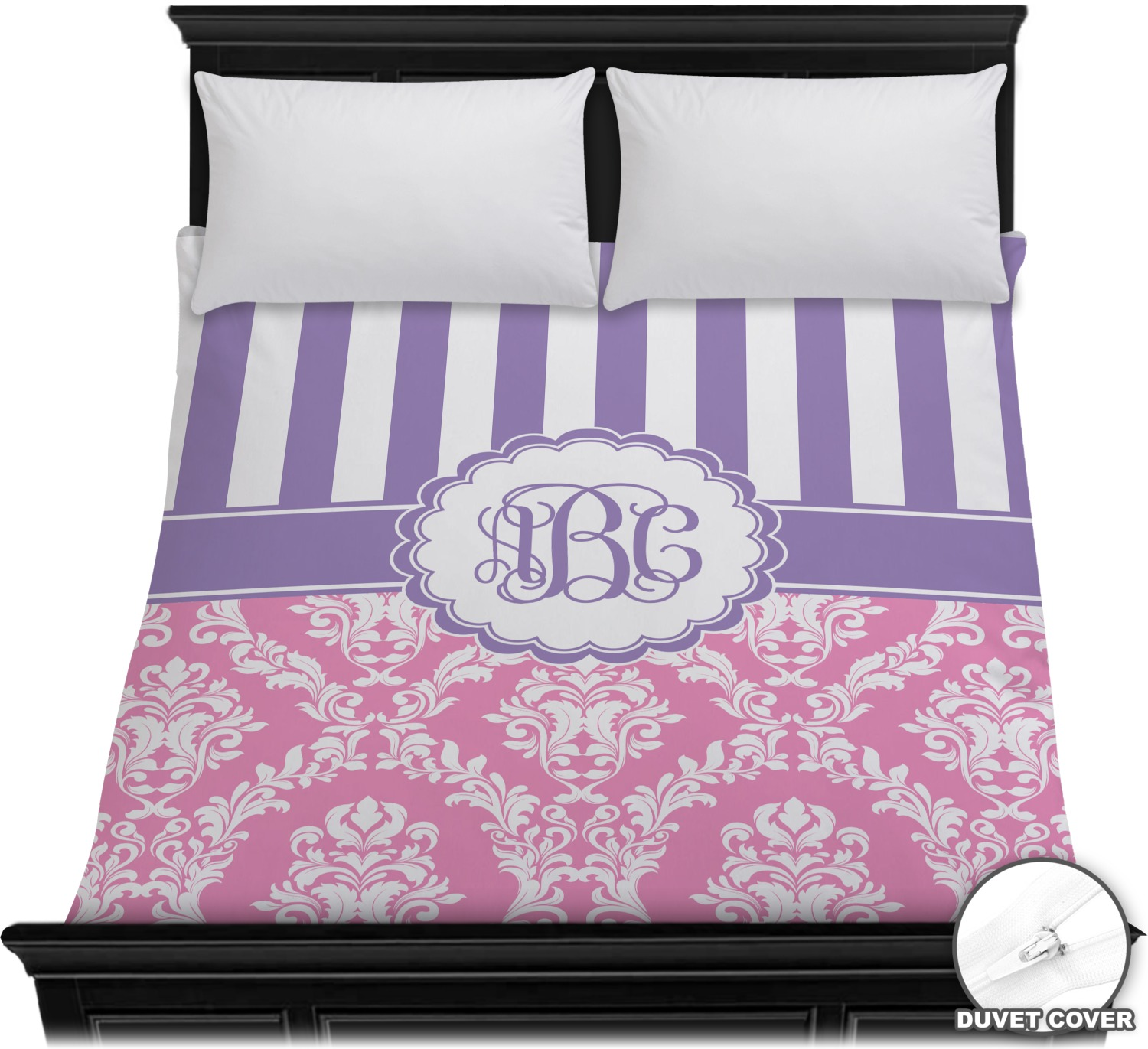 Pink Purple Damask Duvet Cover Full Queen