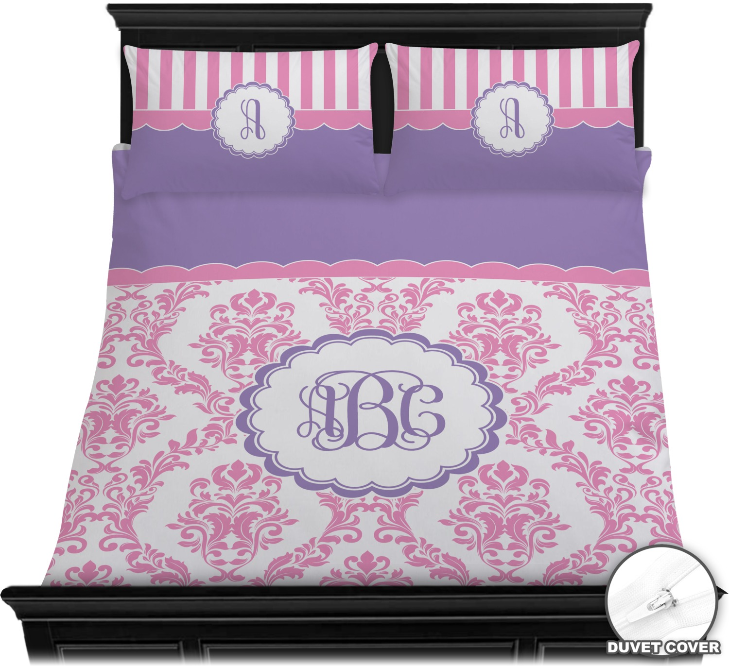 Pink White Purple Damask Duvet Cover Set Personalized