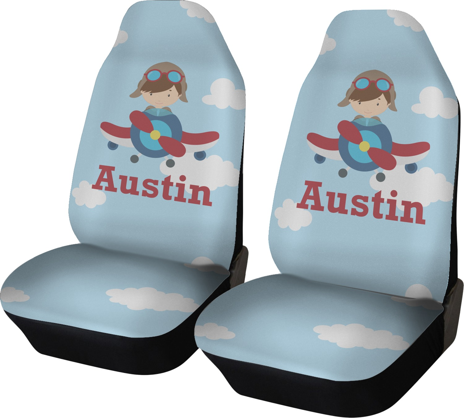Airplane & Pilot Car Seat Covers (set Of Two