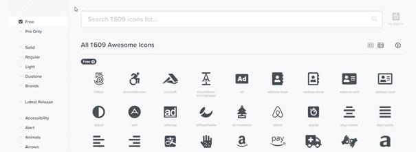 Aperçu icone font-awesome