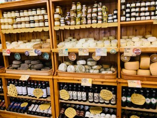 cheese display in pienza