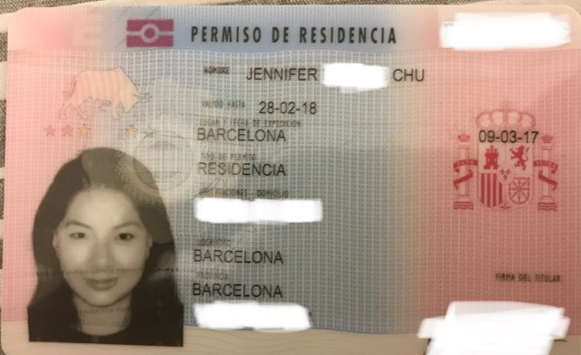example of spain residency card