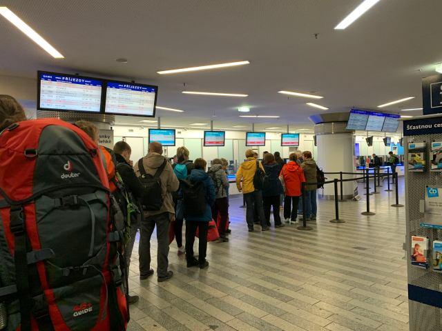 Ticket line at Praha Hl.N