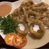 fried calamari rings with tomato along with dipping sauce at art cafe in el nido philippines