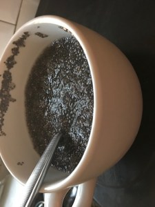 My soaked chia seeds in a cup