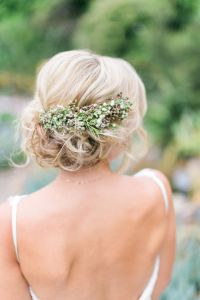 Wedding Hair With Flowers & jewels : Low Bun Upstyle ...