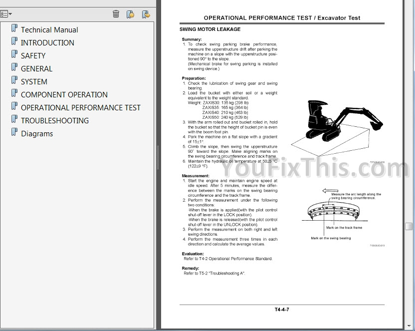 Hitachi Zaxis 30 35 40 50 Repair Manual [Excavator