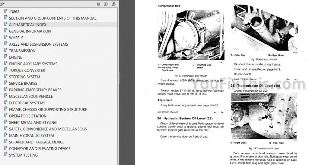 John Deere JD862 Repair Manual [Scraper] « YouFixThis