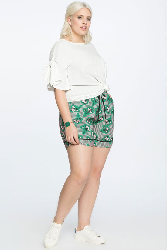 Eloquii Floral Print Drawstring Shorts
