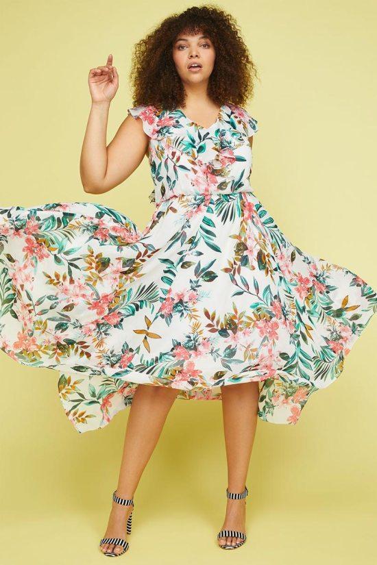 Lane Bryant Floral Ruffle Sleeve Woven Maxi Dress