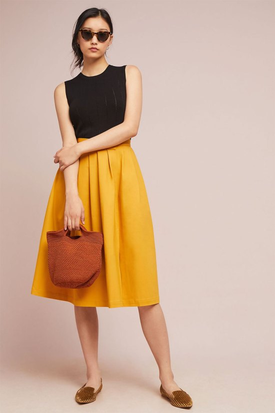 Anthropologie Golden A-Line Skirt
