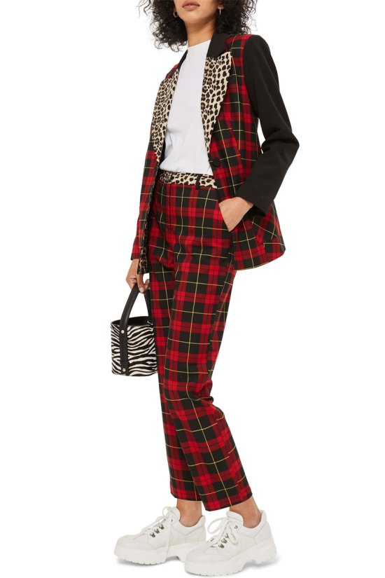Topshop Leopard Trim Tartan Trousers
