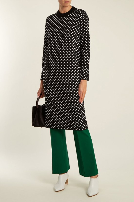 DURO OLOWU Polka-dot Jacquard Wool Sweater Dress