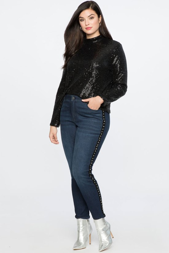 Eloquii Cropped Sequin Turtleneck