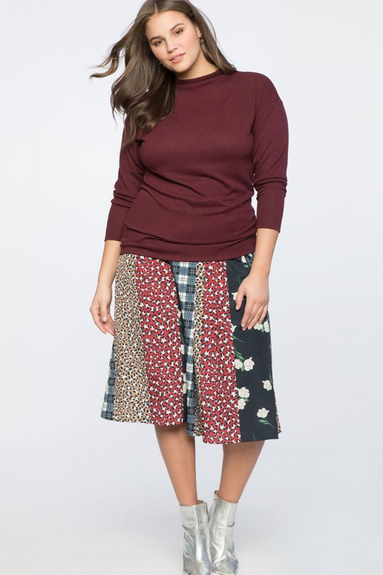 Eloquii Print Blocked Circle Skirt