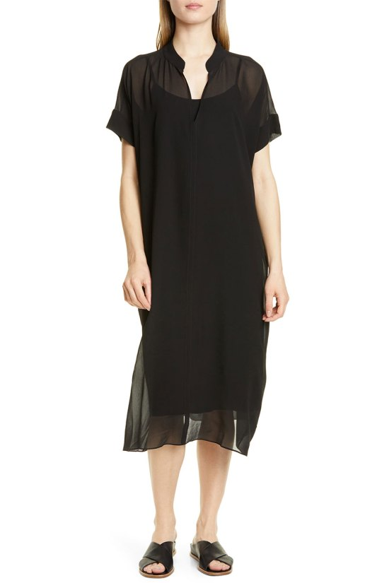Eileen Fisher Sheer Overlay Silk Dress