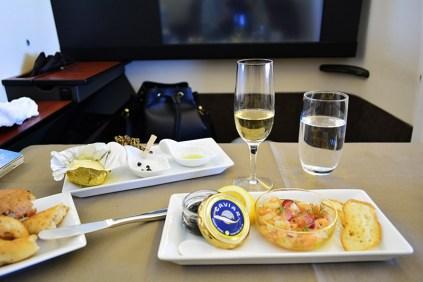 caviar on Japan Airlines JAL first class flight via youmademelikeyou.com