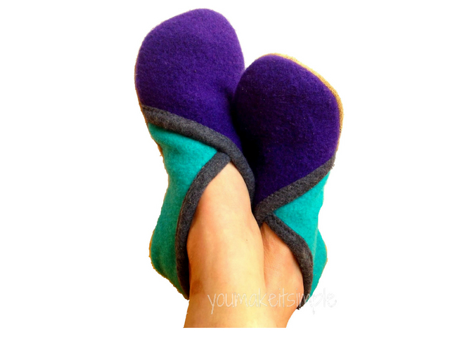 Upcycled Sweater Crossover Slippers - Youmakeitsimple.com