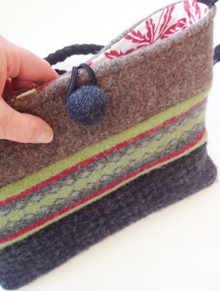 upcycled sweater tablet bag