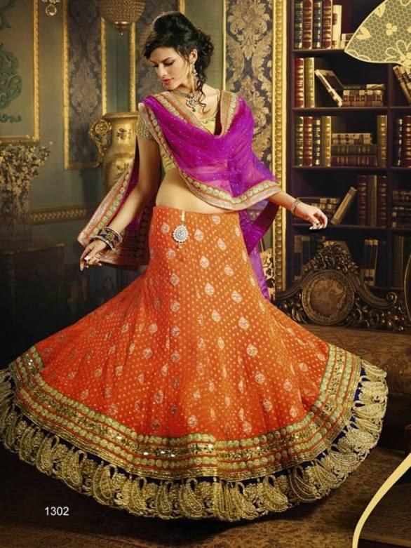 orange bridal lehanga