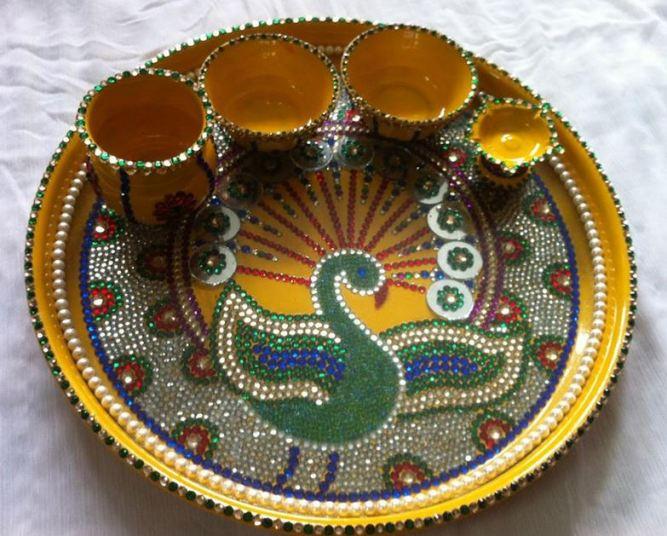 beautiful puja thali decoration