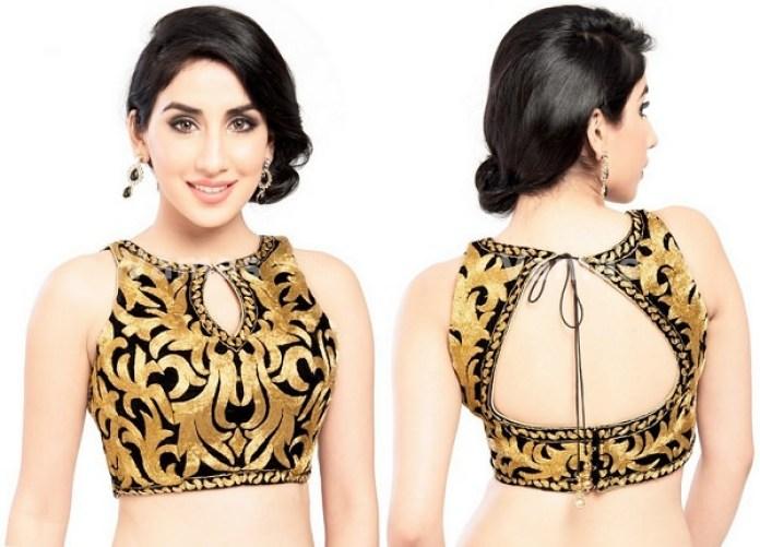 emboss work blouse design