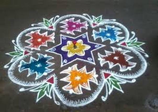 colored kolam designs