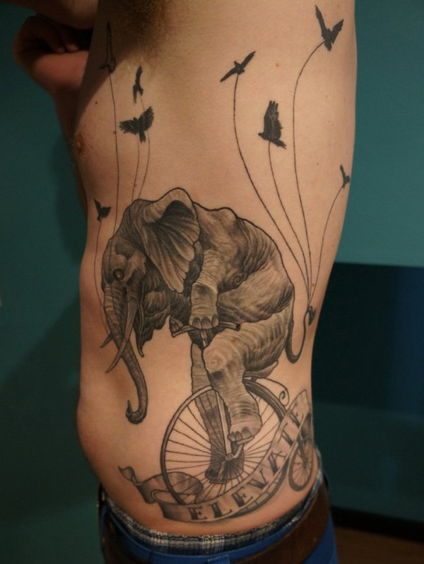 Elephant Rib Tattoo Design For Men