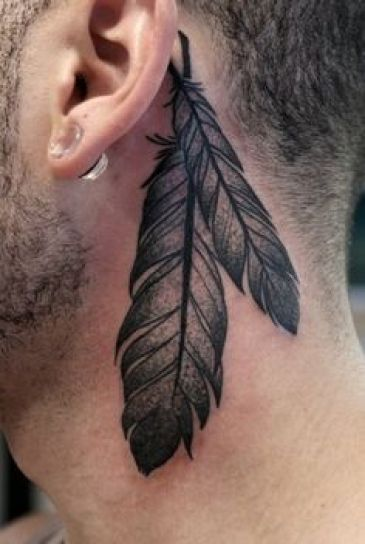 Feather Neck Tattoo Designs For Men