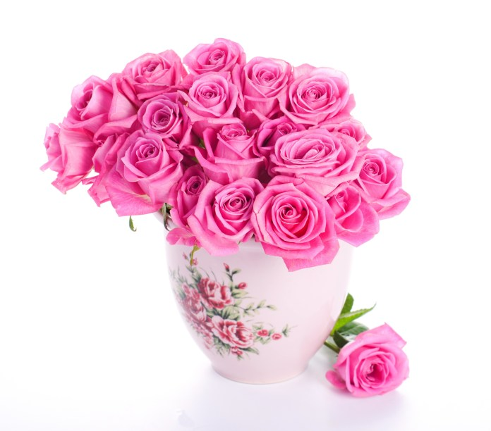 pink flowers vase for room decoration
