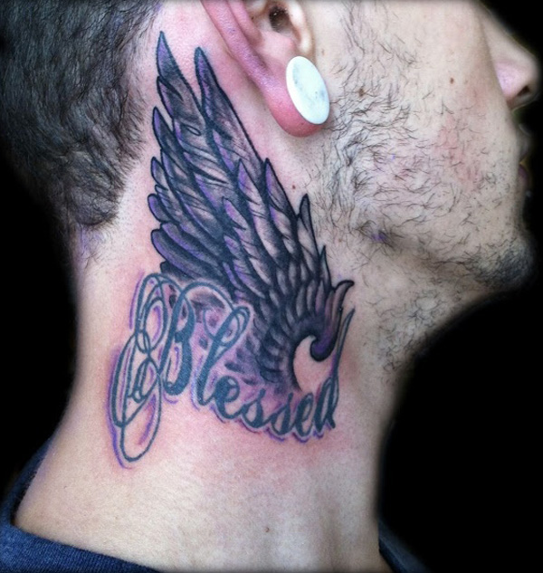Wings Neck Tattoo Designs For Men