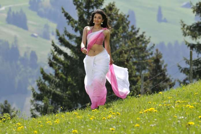 kajal agrawal in pink sari wallpapers